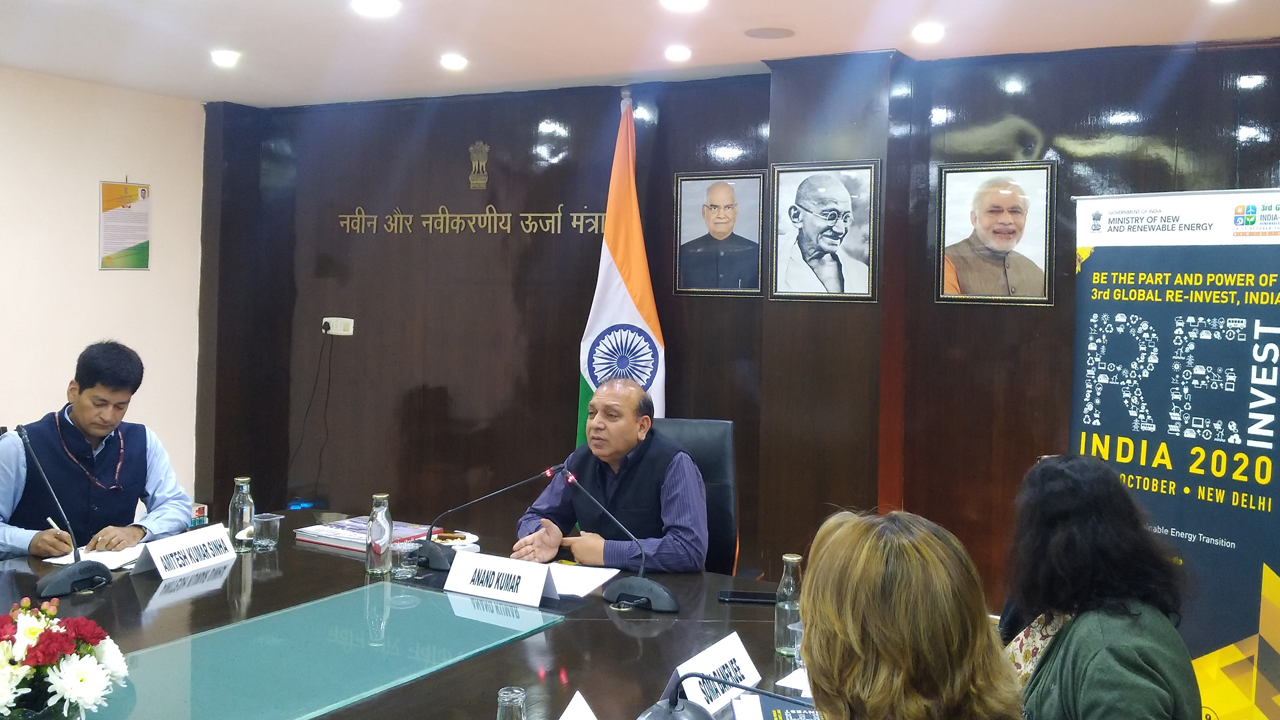 Secretary, Ministry of New and Renewable Energy, Govt of India Mr Anand Kumar chairing the first RE-INVEST 2020 Embassy Meet on 29 January 2020 at New Delhi, India.