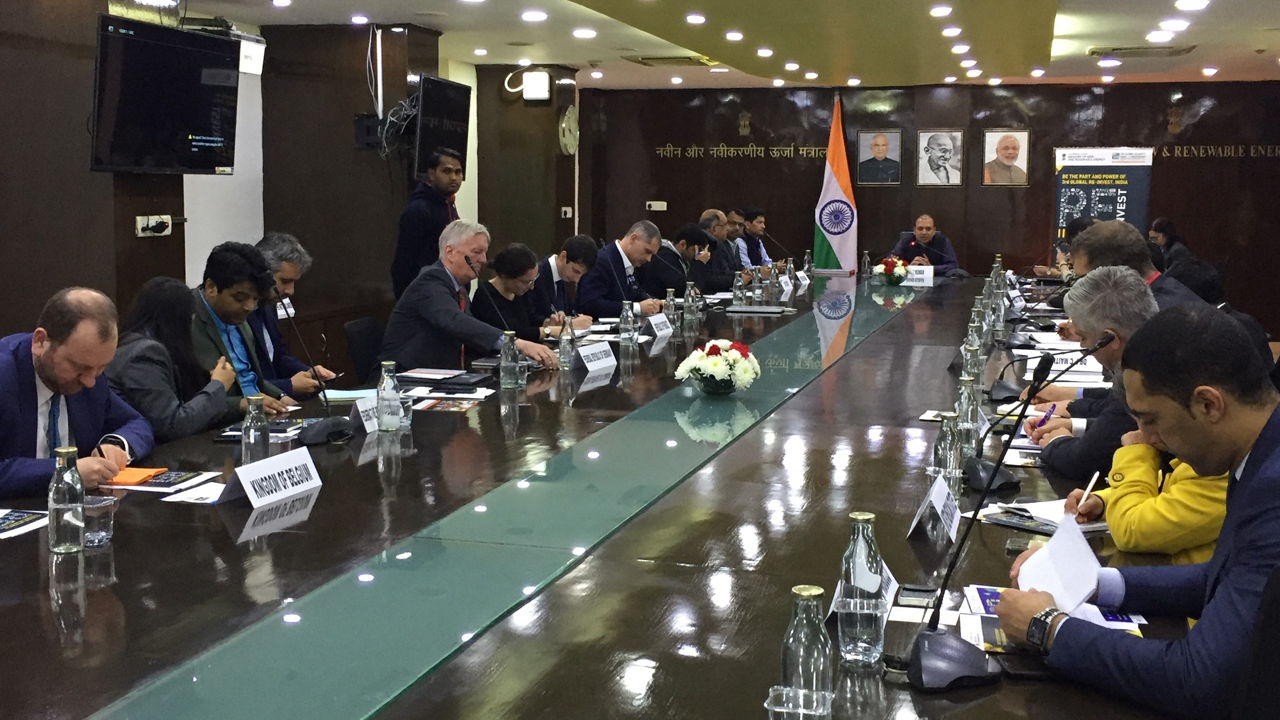Representatives from from Belgium, Brazil, Denmark, Fiji, France, Germany, Mexico, Morocco, Oman, Peru, Philippines, South Africa, Sweden, Uganda, UK, USA and Zambia attended the first RE-INVEST 2020 Countries Meet on 29 January 2020 at New Delhi, India